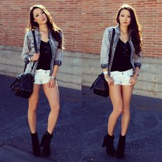 . Witch Pictures, Jessica Ricks, Rocker Chic, Asian Girl, Skater Skirt, That Look, Bomber Jacket, Shorts, Denim