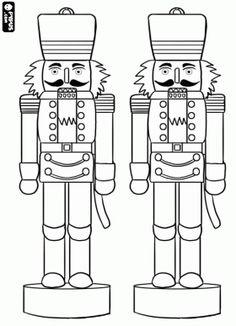 desenho de Quebra-Nozes em forma de soldado de enfeites de Natal para colorir