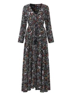 OEUVRE Floral Print V-neck Long Sleeve Maxi Dress