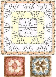 Transcendent Crochet a Solid Granny Square Ideas. Inconceivable Crochet a Solid Granny Square Ideas. Crochet Bedspread Pattern, Crochet Motif Patterns, Crochet Symbols, Crochet Blocks, Granny Square Crochet Pattern, Crochet Diagram, Crochet Chart, Crochet Squares, Crochet Granny