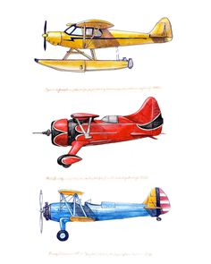 8x10 giclee print featuring three vintage airplanes in red, yellow and blue. $20.00, via Etsy.