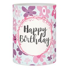 Happy Birthday - Pink Flowers Cute Whimsical Flameless Candle