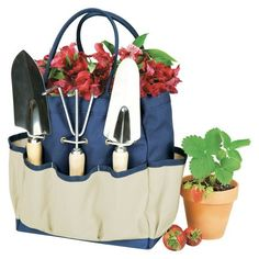 Picnic Time Garden Tote Large - Navy/Cream with 3 Pc Tools : Target