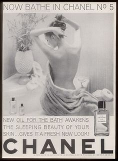 1963 nude woman photo Chanel No.5 perfume bath oil vintage print ad  www.ebay.com