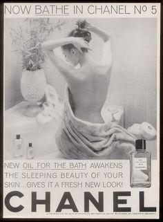1963 nude woman photo Chanel No.5 perfume bath oil vintage print ad  www.ebay.com