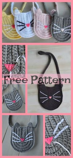 Cute Crochet Kitty Bag – Free Pattern #freecrochetpatterns #bag