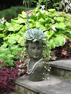 Barbara+landscape+designer+in+Maryland+-+stone+face+planter+with+blooming+echeveria+succulent+via+Stoneface+Creations. Balcony Garden, Garden Planters, Planting Succulents, Planting Flowers, Face Planters, Stone Planters, Echeveria, Garden Inspiration, Container Gardening