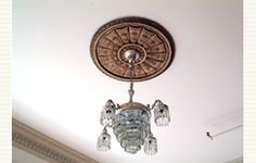 Shell and Bellflower Medallion with beautiful chandelier.
