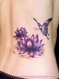 Do you want to know interesting facts about lotus flower tattoos? Read on to know about the best kind of lotus flower tattoo designs. Lotus tattoos are included in the most common tattoo designs those are popular amongst both guys and girls. Purple Lotus Tattoo, Butterfly With Flowers Tattoo, Lotus Flower Tattoo Design, Butterfly Tattoo Designs, Lotus Flowers, Purple Butterfly, Tattoo Flowers, Purple Tattoos, Butterflies
