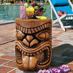 """Design Toscano The Grand Tiki Tongue Sculptural Table - Garden Statues at Hayneedle*************Nice Gardening Decor-unsure if I could """"let it weather"""" though! Décor Tiki, Totem Tiki, Tiki Art, Outdoor Statues, Garden Statues, Tiki Statues, Art Sculpture, Wall Sculptures, Garden Sculptures"""