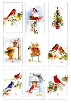 fitchwellswatercolors: Christmas Watercolor Miniatures