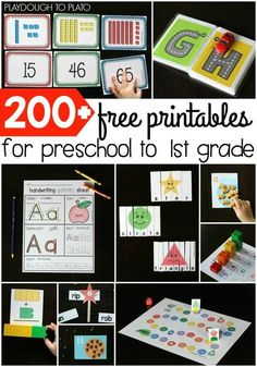 200+ free printables for preschool, kindergarten and math. Tons of fun math and literacy activities in the bunch!