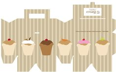 cajas magdalenas - Buscar con Google Box Cupcakes, Cupcake Boxes, Cupcake Template, Origami, Miniature, Packaging, Clip Art, Printables, Sweets