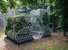 Perforated Metal Installation Shaped As An Excavator: by Marije van der Park Street Furniture, Garden Furniture, Perforated Metal, Outdoor Spaces, Outdoor Decor, Closer To Nature, Urban Farming, Park, Installation Art