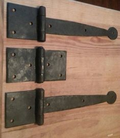 Items similar to hand forged hinges, custom order on Etsy Barn Door Latch, Barn Door Hinges, Gate Hinges, Gate Hardware, Rustic Hardware, Wooden Hinges, Decorative Hinges, Wooden Gates, Garage Plans With Loft
