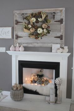 Don't just decorate the top of your mantle - Velvet Pumpkins look gorgeous INSIDE your fireplace! in fireplace ideas christmas Move Over, Neutral - Rich Jewel Tones for Fall - Simple Cozy Charm Candles In Fireplace, Fake Fireplace, Farmhouse Fireplace, Fireplace Design, Simple Fireplace, Artificial Fireplace, Christmas Fireplace, Empty Fireplace Ideas, Fireplace Hearth Decor