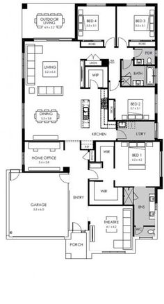 Trendy Hairstyles For Women Large House Plans, New House Plans, Dream House Plans, House Floor Plans, Floor Plan 4 Bedroom, 4 Bedroom House Plans, Circle House, Architectural Floor Plans, Australia House