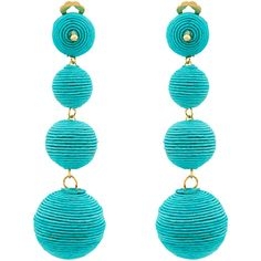 Kenneth Jay Lane Turquoise Woven Clip Earrings ($95) ❤ liked on Polyvore featuring jewelry, earrings, turquoise, turquoise clip earrings, turquoise earrings, green turquoise jewelry, earring jewelry and clip on earrings