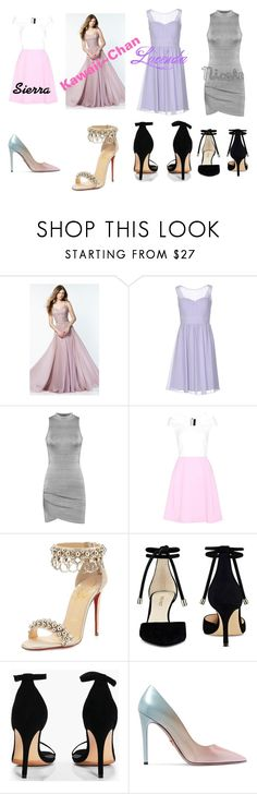 """""""Kawaii~Chan and her brides Maids outfits"""" by lizzie12304 on Polyvore featuring Alyce Paris, Musani, WearAll, Roland Mouret, Christian Louboutin, Nine West, Boohoo and Prada"""