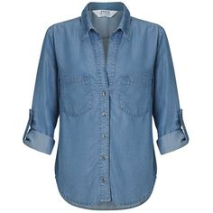 Miss Selfridge Super Soft Open Front Shirt ($38) ❤ liked on Polyvore featuring tops, shirts, blouses, camisas, mid wash denim, summer shirts, blue top, miss selfridge, open front tops and pocket shirts
