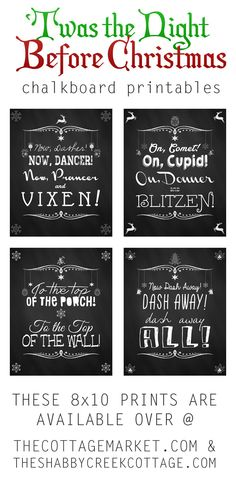 If you are looking for some new Holiday Wall Art.take a peek at our NEW Free Christmas Chalkboard Printable Set. Twas the Night before Christmas The Night Before Christmas, Christmas Signs, Little Christmas, All Things Christmas, Holiday Fun, Christmas Holidays, Christmas Quotes, Christmas And New Year, Holiday Ideas
