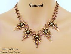 Beading tutorial instructions - beadweaving pattern beaded seed bead jewelry - DRAGON's TALONS beadwoven necklace - beadwork