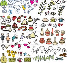 Image detail for -Many cute doodle images in vector.