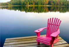 There is not enough space for me to LOVE this picture enough.... PINK chair on a dock.... That's my retirement spot!!!!-Ang