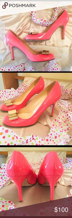 Kate Spade Karolina Bow Pumps | Great Condition These shoes are an absolute delight! The bright, almost fluorescent pink color paired with the gold Karolina bows create a party for your feet. The only flaws are some staining on the soles and a couple slight scuff marks on the sides of the pumps and one bow. SHOE TIP: Wear these with a white dress to your next girls night out  Please note: See additional pics in my closet for the scuff marks and soles. Also these were purchased as floor…