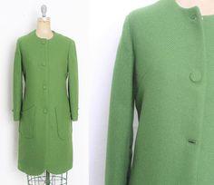 Vintage 1960s 60s Green Coat Green Overcoat Vintage mid century modern