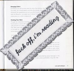 Instantly-Delivered PDFs | Subversive Cross Stitch |  Fuck Off, I'm Reading bookmark pattern. Available as a kit as well.
