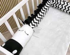 Baby crib bumper ZEBRA Pillow Handmade, Baby Bed Bumper, Baby Shower Present Black&White