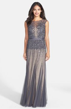 Main Image - Adrianna Papell Beaded Chiffon Gown (Regular & Petite)