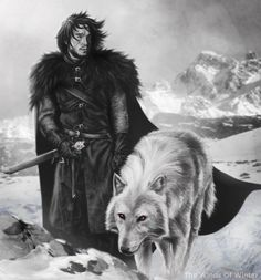A drawing of Jon Snow & Ghost Game of Thrones