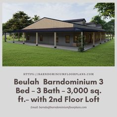 Beulah 3 Bed – 3 Bath – 3,000 sq. ft. with 2nd Floor Loft. We sell semi-custom Barndominium floor plans and provide helpful tips to design and build your home whether it is DIY or you are paying a company. #architecture #barndominiums #home #modernbarn #barnhomefloorplans #beautifulbarn #homefloorplan #barnhomedesign #housedesign #barndominiumfloorplans #floorplan #dreambarn #barnhouse #barndominiumliving #loft #barndominiumdesign #barndominiumdesign #barn #garage #barnloft