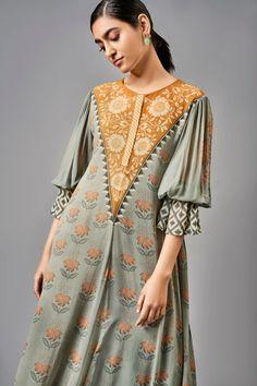 Womens Tunic Maxi Dress Yellow Embroidered Designer Georgette Indian Kurti Bikini Cover Up L