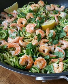 Shrimp Zoodles with Cilantro and Garlic - Clean Food Crush