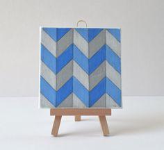 Geometric Art, Small Painting, Canvas Art, Original Painting 4x4, Acrylic Mini Canvas Painting On Wooden Mini Easel - No. 24 - Blue Chevron