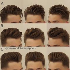 "3,409 curtidas, 140 comentários - Barbers Hair World | 119k (@barbershairworld) no Instagram: ""A,B or C? Via @mensworldherenkappers , styled by @hairbond  Follow @barbershairworld for more!…"""