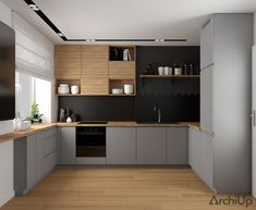 Mieszkanie w Krakowie on Behance Open Plan Kitchen Living Room, Loft Kitchen, Kitchen Room Design, Modern Kitchen Cabinets, Home Room Design, Kitchen Cabinet Design, Modern Kitchen Design, Best Kitchen Designs, Interior Design Kitchen
