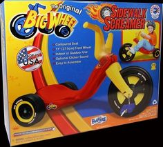 Original Big Wheel Sidewalk Screamer For the little riders. by JL. $39.99. Original model more durable than ever.. Original 11 inch design.. Get the kids off the sofa and on the road to exercise.. Easy assembly with instructions.. Adjustable Seat.. The original big wheel that we all loved as kids with brilliant new colors guaranteed to provide hours of excitement.  With todays play habits, this product is a great way to get the kids off the sofa and on the road to healt...
