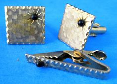 Mid Century Cufflinks And Tie Bar 1950s Textured by RuthsBargains