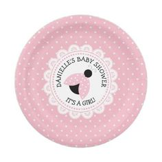 Personalized Pink Ladybug Baby Shower Paper Plates  sc 1 st  Pinterest : personalized paper plates and napkins - pezcame.com
