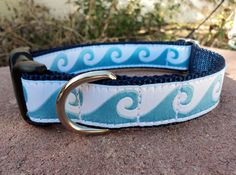 """Small Dog Collar 3/4"""" Blue Wave adjustable side release/ see 1"""" width within / martingale style is cost  upgrade"""
