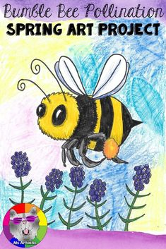 Art inspired by bees pollinating spring flowers. This art project is a great pair to a Bee Unit in your classroom. Create a Bumble Bee, spring art project with your students. This is a great way to allow them to reflect on the changes that occur in the sp