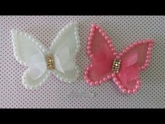 Satin Flowers, Felt Flowers, Fabric Flowers, Butterfly Crafts, Flower Crafts, Baby Hair Bands, Bow Template, Baby Hair Accessories, Bow Tutorial
