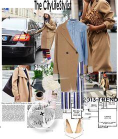 """Camel coat & stripe pants"" by naki14 ❤ liked on Polyvore"
