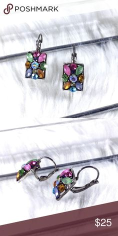 """Vintage MultiColor Rhinestone Square Earring Bobs So cute, square small earring bobs with pierced ear hooks that have the hook closures. Squares are filled with different shape and color crystals and rhinestones that are actual mirror image so they look great worn. .5"""" long. Vintage retro Art Deco art nouveau.  🌟 Save the most with bundles. I offer 25% OFF on 2+ items and accept reasonable offers on items & bundles. NO trades/holds/lowball offers. Boutique Jewelry Earrings"""
