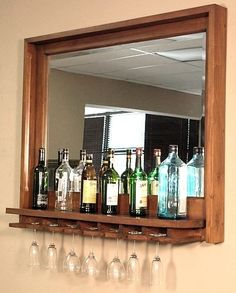 Solid mahogany wine bar, mirror and glass rack