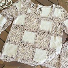 Crochê com quadrado de tecido